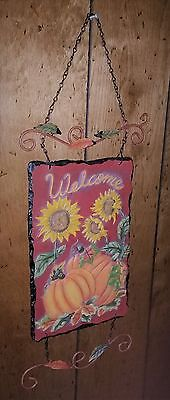 Country Farm  Hanging Fall Harvest  Sunflower & Pumpkin Picture Sign
