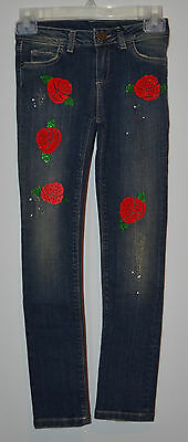 Paesaggino Denim Straight Leg Blue Denim Jeans w/ Roses & Diamante Girl's 10 NWT