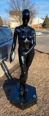 Glossy Black Sexy Mannequin Female Full Body Life Size Model With Gold High Heel