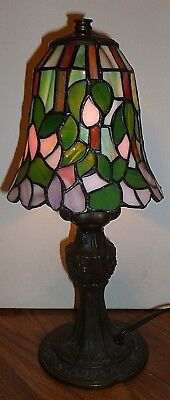 (Tiffany  Style  Stained  Glass  Bronze Finish  Wisteria  Accent  Table  Lamp )