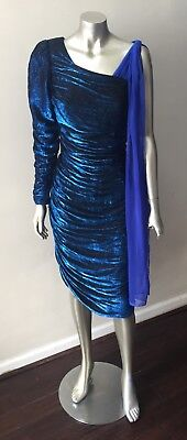 80s Dresses | Casual to Party Dresses Metallic Draped Vintage 80s Ruche Chiffon cape Coffin Blue Party Midi Dress M $39.00 AT vintagedancer.com