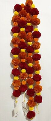 Fall Pom Pom Garland 2 Strands 6 Ft ea, Halloween Thanksgiving