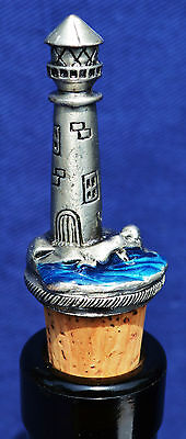 Wine bottle stopper lighthouse pewter bar accessory beachy