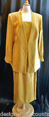 NWT Donna Vinci GOLD beaded mother of the bride Church Skirt Suit Floral SZ 14 L