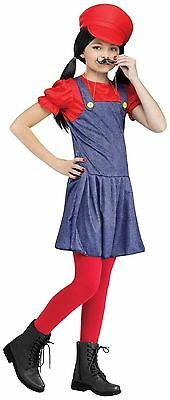 Pretty Plumber Costume Mario Costume for Girls size Small New by Fun World - Mario Girl Costumes