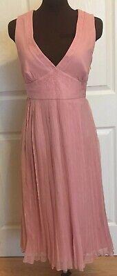 BCBG Silk Chiffon Peach/ Pink Beaded Pleated V Neck Dress Size 8