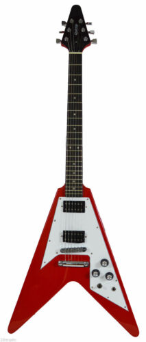 Red Quincy Flying V Electric Guitar Classic Shape Design Authentic head TEXAS UK