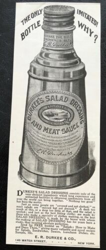 Antique1898 E.R.DURKEE&CO.Salad Dressing&Meat Sauce Bottle Vtg Magazine Print Ad