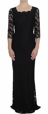 NWT $3800 DOLCE & GABBANA Dress Black Floral Lace Long Ball Maxi IT40 / US6 / S