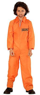 Orange County Jail Boiler Jump Suit Prison Convict Boys Kids Fancy Dress Costume (Kids Orange Jumpsuit Kostüm)