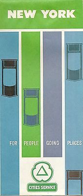 1963 CITIES SERVICE Road Map NEW YORK Rochester Albany  Long Island Expressway