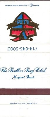 THE BALBOA BAY CLUB-NEWPORT BEACH,CA-.-EMPTY-MATCHBOOK-TWO INCHES WIDTH