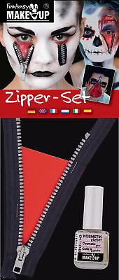 Reißverschluss Zipper Set Make Up Halloween Zombie Horror Gesicht