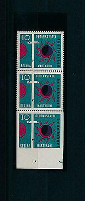 Regina Martyrum 1963** Dreierstreifen Fehlzähnung Michel 397 Udr Attest (S11688)