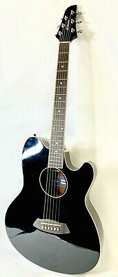 IBANEZ TALMAN TCY10E-BK Acoustic-Electric Guitar BLACK STRAT SHAPE Active EQ