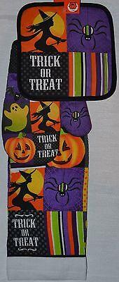 Potholder~Oven Mitt~Towel~Halloween Spider~Witch~Jack O'Lantern~Kitchen~NEW](Halloween Oven Mitts)