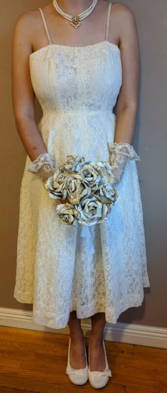 Vintage 50s Tea Length Wedding Dress Lace Pearls