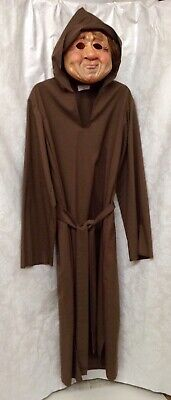 Monk Latex Mask With Long Brown Monk Robe - Brown Robe