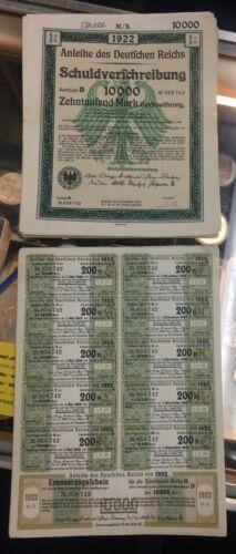 Anleihe des Deutfchen Reichs 1922 German 10,000 marks bond certificate w/coupons