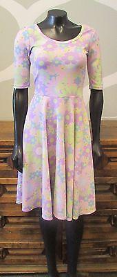 LULAROE Pastel Pink Purple Blue Floral Daisy Print NICOLE Stretch Knit Dress -XS