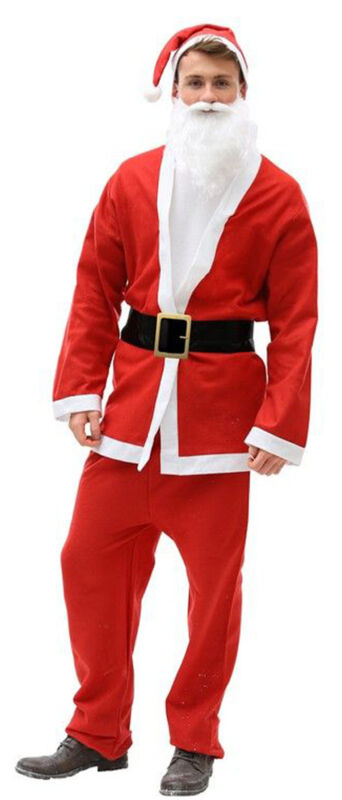 Santa+Suit+Mens+Fancy+Dress+Christmas+Festive+Xmas+Outfit+One+Size+Red+UK