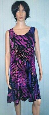 Jostar A Line Tank DRESS Travel Wear Wrinkle FREE Abstract BLUE Purple