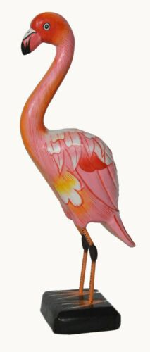 "12"" Vintage Wood Hand Carved Pink Flamingo Sculpture Bird Garden Art Tropical"
