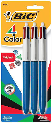 Bic 4 Color Ball Pen 4-in-1 Retractable Medium Black Red Blue Green Ink 3pk