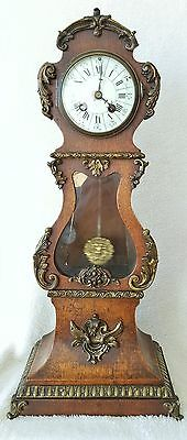 Rare Antique Clock Miniature Longcase Mantel Clock Pendulum