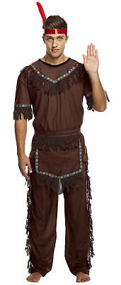Adult Indian Man Costume - Fancy Dress Brave Warrior Chief Fancy Cowboy (Brave Dress Up Kostüme)