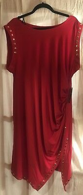 NEW SOHO APPAREL Jersey Stretch Dress Red Gold Plus Sz 2X NWT $98