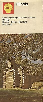 1972 Shell Oil Log Cabin Road Map Illinois Route 66 Springfield Chicago Rockford