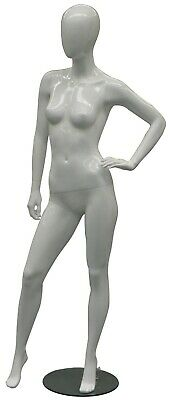 Adult Female Glossy White Faceless Fiberglass Fashion Mannequin With Metal Base