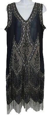 Unique Vintage Women's Art Deco Embroidered  Flapper Fringe Dress Navy Plus Size