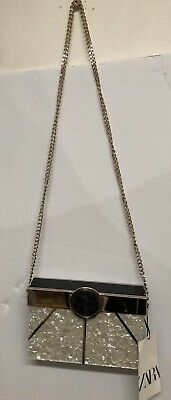NWD ZARA Gold stripe Box Bag marble effect exterior metal piece removable chain