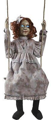Halloween Haunted Swinging Decrepit Girl Doll Animated Hanging Prop with Sensor (Swinging Girl Halloween)