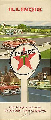 1960 Texaco Oil Road Map Illinois Route 66 Chicago Springfield Decatur Rockford