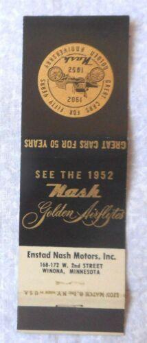1952 NASH DEALER  MATCH BOOK COVER ORIGINAL