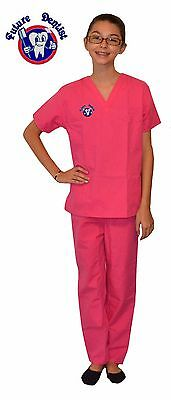 Kids Dentist Scrubs Hot Pink with Future Dentist Embroidery Design