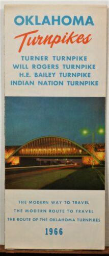 1966 Oklahoma Turnpikes vintage travel brochure road map b