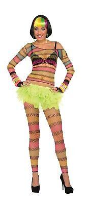 Ladies Fancy Dress Rainbow Fishnet Top Gay Pride Festival 80s 90s Outfit - Top Gay Kostüm