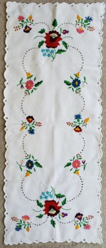 Handmade Vintage Hungarian KALOCSA Embroidered Table Runner 32.5 x 13 inch -new