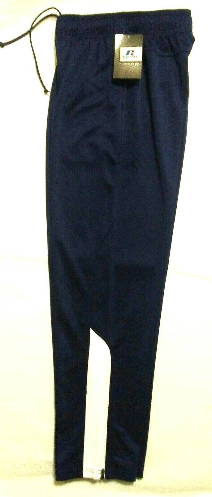 Russell Athletic Mens Navy Blue Warmup Pants Training Basket