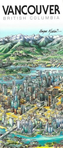 Map of Vancouver, BC, Canada, by Unique Media, Folded Artistic Illustrated Map