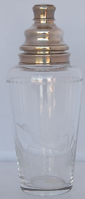 Antique cut glass & sterling Martini cocktail shaker engraved Duck Hawkes silver