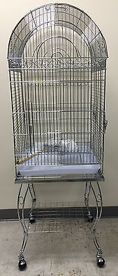 "Large 20 Inch CHROME Parrot Bird Cage Top Play With Stand Wheel 20x20x57""H-946"