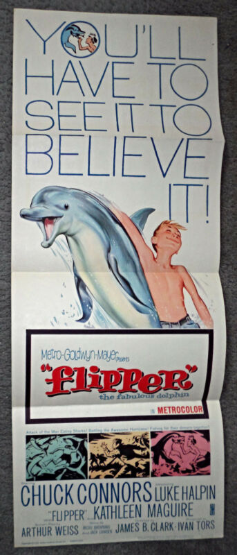 FLIPPER original 1963 14x36 movie poster CHUCK CONNORS/LUKE HALPIN