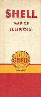 1959 Shell Oil Co Road Map Illinois Route 66 Springfield Peoria Rockford Chicago