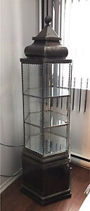 HAND MADE ANTIQUE SILVER GLASS DISPLAY CABINET VITRINE ARGENT