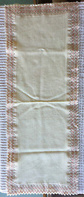 Table Runner Pink and Ivory Soft Woven Fabric 14 x 38